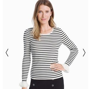 White House Black Market B&W striped sweater